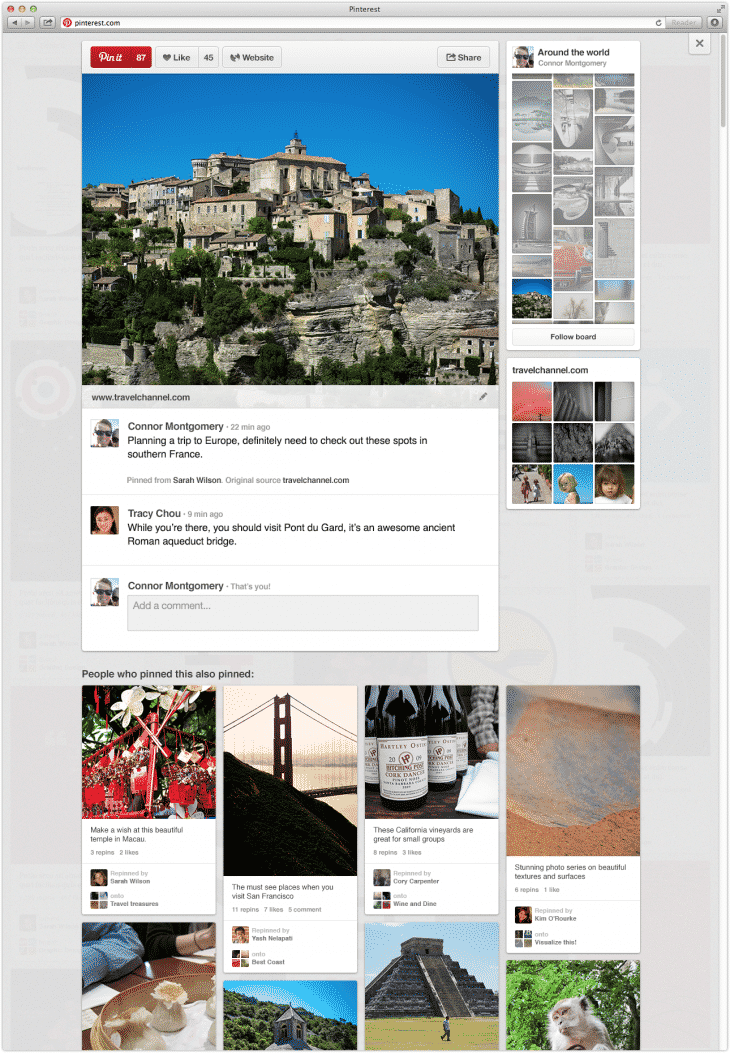 Pinterest rolls out its site redesign with easier access to boards and related content from a pin page