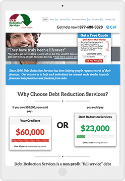 debt reduction services ipad mockup