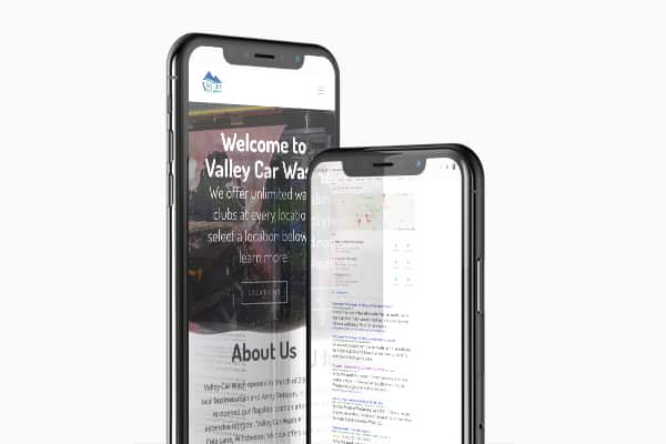 Mockups of Valley Car Wash mobile website and search results for car wash near me