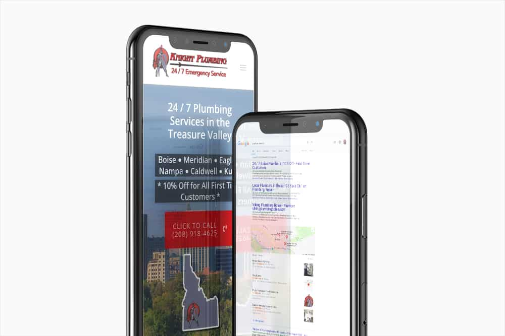 Mockups of the Knight Plumbing mobile website and search results for plumber near me