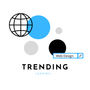 Design that has a search bar with the words Web Design in it and a title of TRENDING: Loading... on the bottom of the picture.