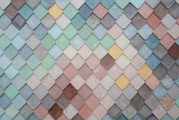 diamond-shaped tiles that are multi-colored.