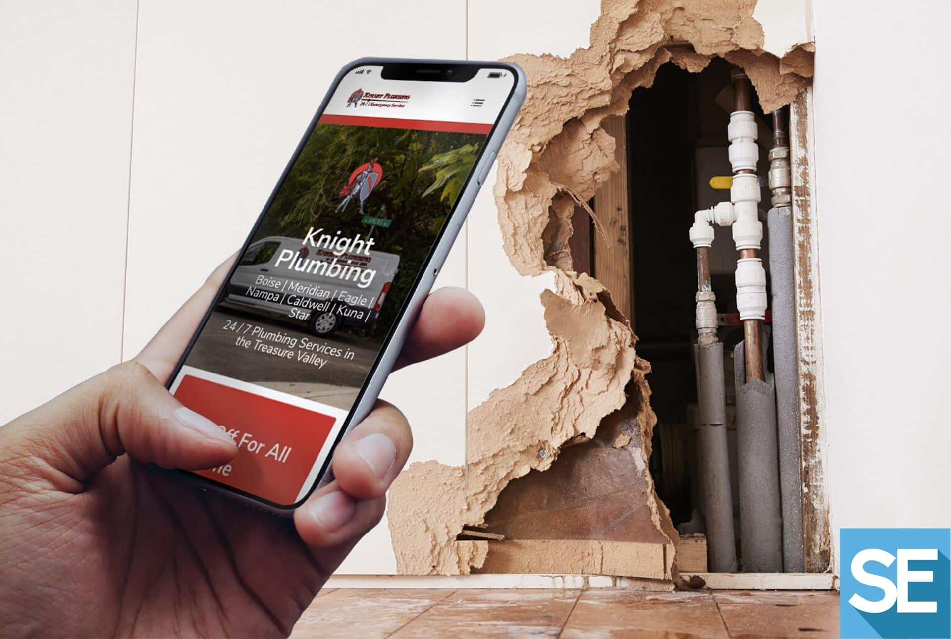 Someone opens Knight Plumbing's mobile site to call about a pipe repair; there's a damaged wall with exposed pipes in the background.