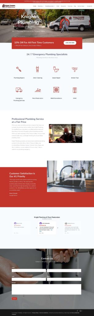 A screencap of Knight Plumbing's new site design. From top to bottom: the header, services, customers, contact us, and footer.
