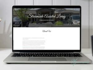 Laptop set on a desk with Streamside Assisted Living's website on-screen, a company that uses Social Eye's PPC and SEO services.