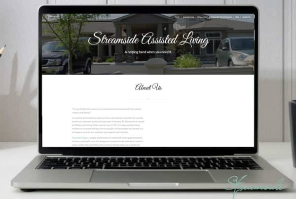 Laptop depicting the streamside assisted living site.