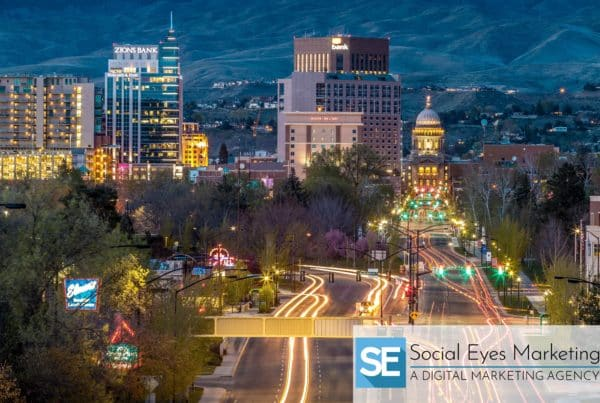 Bird's eye view of downtown Boise at night.